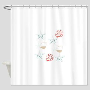 Starfish Seashells Pattern Shower Curtain