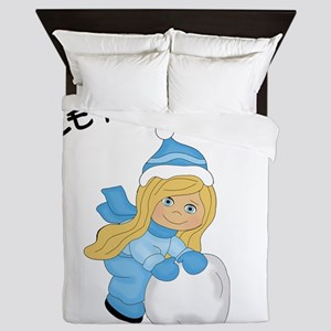 Let It Snow - Blonde Hair Blue Eyes Queen Duvet