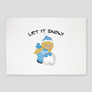 Let It Snow - Blonde Hair Blue Eyes 5'x7'Area Rug
