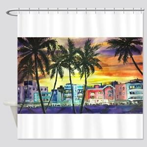 South Beach Neon Sunset Shower Curtain