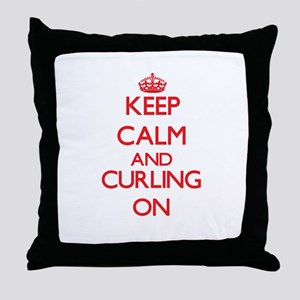 Keep calm and Curling ON Throw Pillow