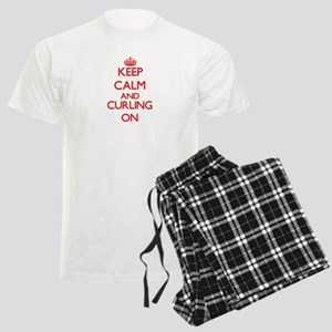 Keep calm and Curling ON Men's Light Pajamas