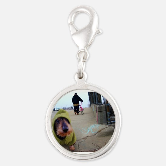 Dogz In the Hood Silver Round Charm
