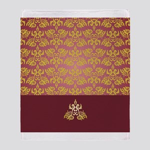 Gold Damask on Burgundy Throw Blanket