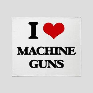 I Love Machine Guns Throw Blanket
