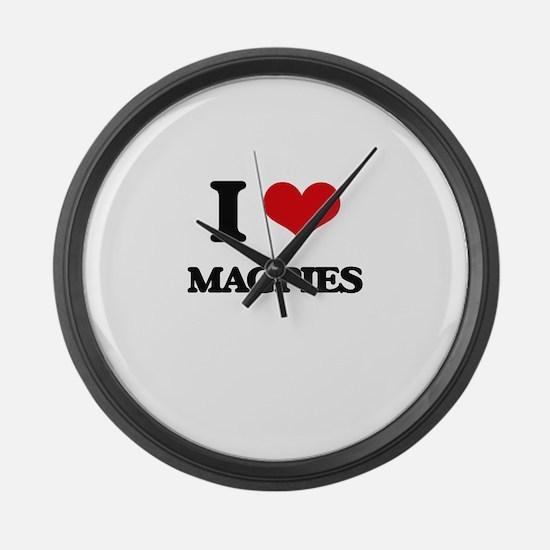 I Love Magpies Large Wall Clock