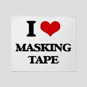 I Love Masking Tape Throw Blanket