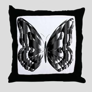 Darker Metallic Butterfly Throw Pillow