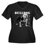 Bulldog Pride Women's Plus Size V-Neck Dark T-Shir