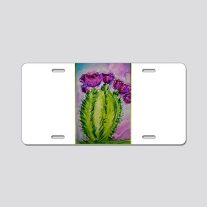 Purple cactus, southwest art Aluminum License Plat
