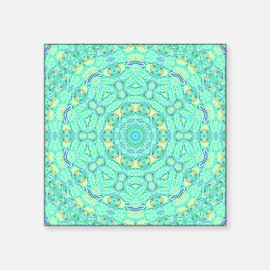 "Mint Green Mandala Pattern  Square Sticker 3"" x 3"""
