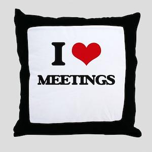 I Love Meetings Throw Pillow
