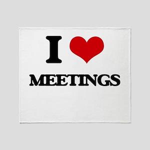 I Love Meetings Throw Blanket