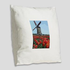 Wind Mill Burlap Throw Pillow