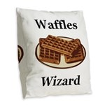 Waffles Wizard Burlap Throw Pillow