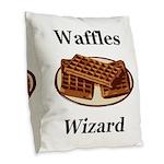 Waffles Wizard Burlap Throw Pillow