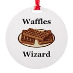Waffles Wizard Round Ornament