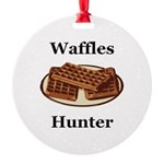 Waffles Hunter Round Ornament