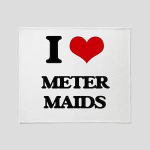 I Love Meter Maids Throw Blanket