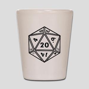 D20 White Shot Glass