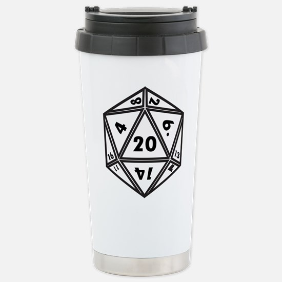 D20 White Travel Mug