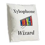 Xylophone Wizard Burlap Throw Pillow