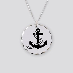 Black anchor Necklace Circle Charm