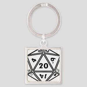 D20 White Keychains