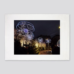 Paris Holiday Lights Christmas Mark 5'x7'Area Rug