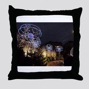 Paris Holiday Lights Christmas Market Throw Pillow