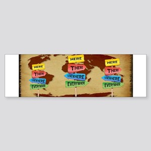 Directions Panels Wanderlust Bumper Sticker