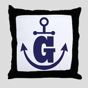 Anchor Monogram G Throw Pillow