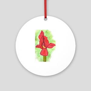 Red Iris Ornament (Round)