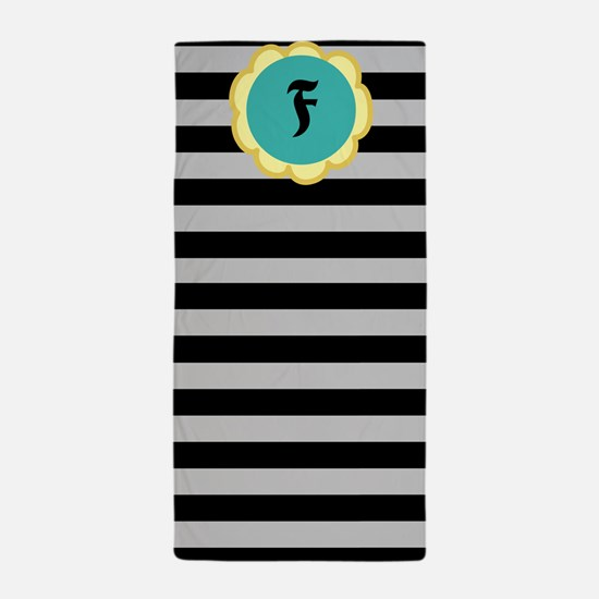 Black And Gray Stripes Monogramed Beach Towel