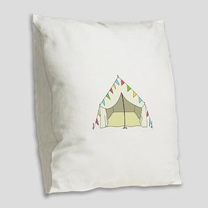 GLAMPING TENT Burlap Throw Pillow