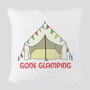 GONE GLAMPING Woven Throw Pillow