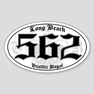 """LONG BEACH 562 OLD SKOOL"" Oval Sticker"