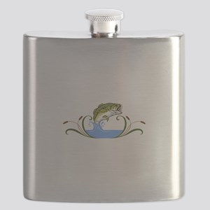 BASS FISH AND CATTAILS Flask