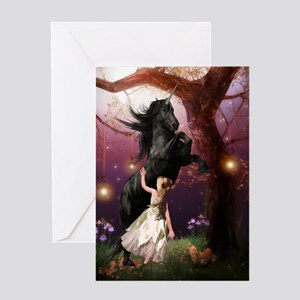 The Girl and the Dark Unicorn Greeting Cards