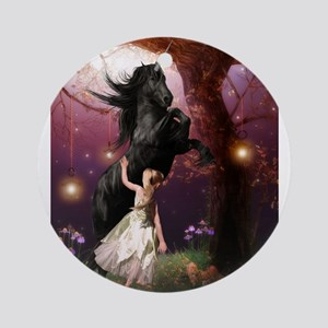 The Girl and the Dark Unicorn Ornament (Round)