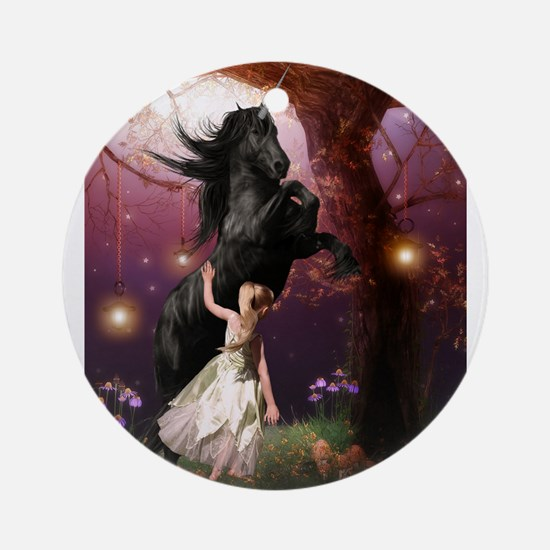 The Girl and the Dark Unicorn Ornament (Round)