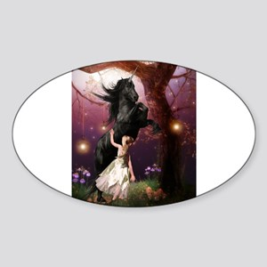 The Girl and the Dark Unicorn Sticker