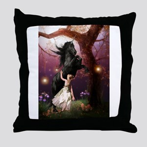 The Girl and the Dark Unicorn Throw Pillow