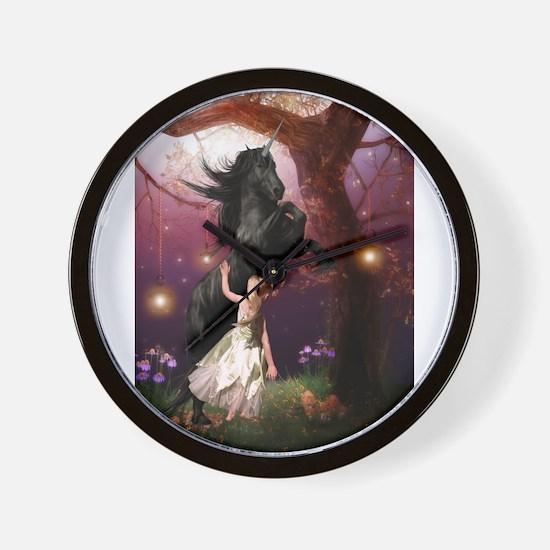 The Girl and the Dark Unicorn Wall Clock