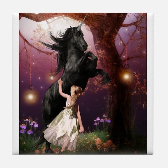 The Girl and the Dark Unicorn Tile Coaster