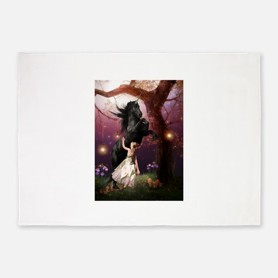 The Girl and the Dark Unicorn 5'x7'Area Rug