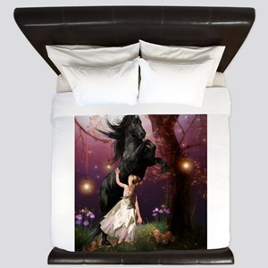 The Girl and the Dark Unicorn King Duvet