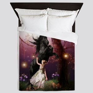 The Girl and the Dark Unicorn Queen Duvet
