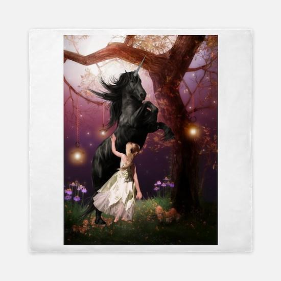 The Girl and the Dark Unicorn Queen Duvet