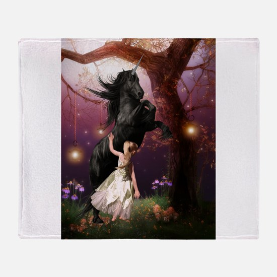 The Girl and the Dark Unicorn Throw Blanket